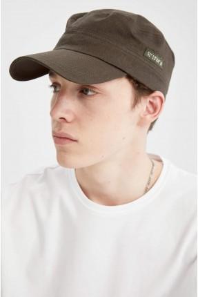 قبعة رجالية بطبعة على الجانب - زيتي