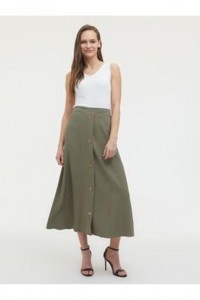 تنورة طويلة بازرار - زيتي