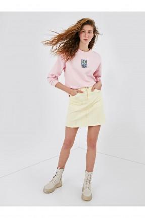 تنورة قصيرة بجيوب - اصفر