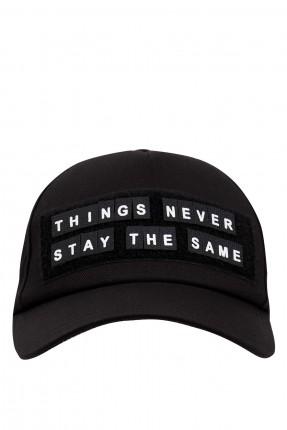قبعة رجالية مزينة بكتابة الامام - اسود