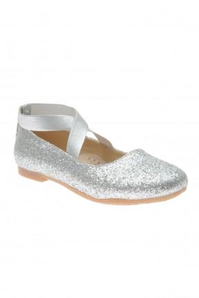 حذاء اطفال بناتي لامع بنمط X - رمادي