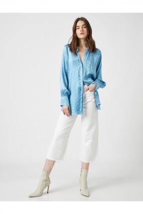 قميص نسائي بازرار مخفية - ازرق