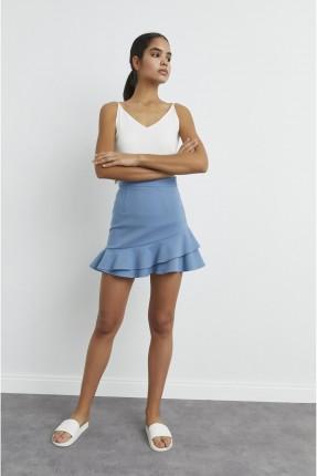 تنورة قصيرة بكشكش - ازرق