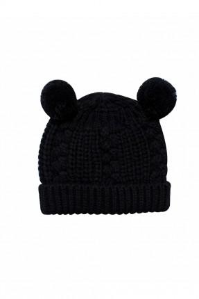 قبعة اطفال بناتي محبوكة - اسود