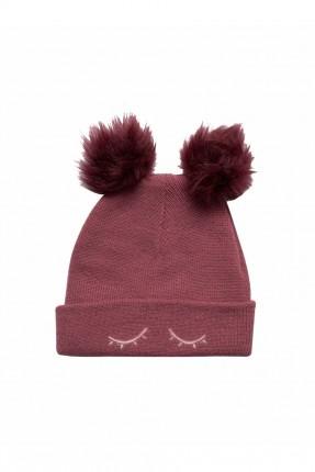 قبعة اطفال بناتي مزينة بكرات فرو
