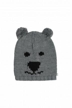 قبعة اطفال بناتي محبوكة بطبعة - رمادي