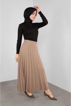 تنورة طويلة سادة اللون - بيج