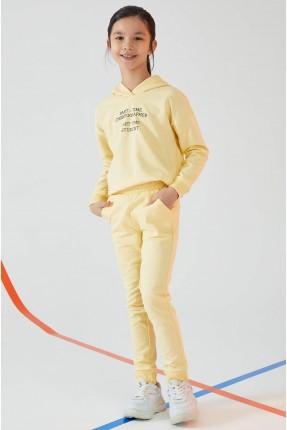 بيجاما رياضية اطفال بناتي بكابيشون - اصفر