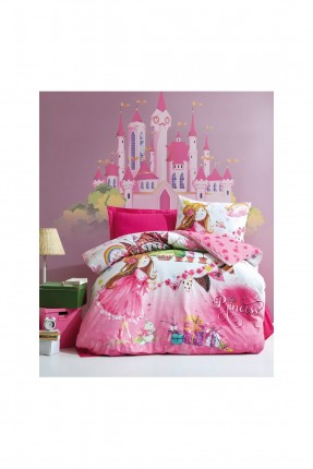 طقم غطاء سرير اطفال بناتي مزين برسمة