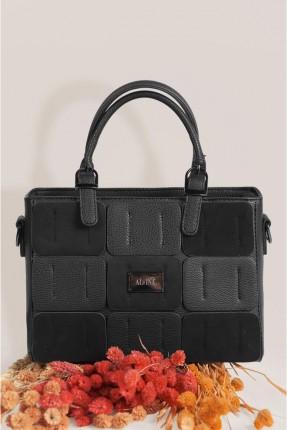 حقيبة يد نسائية مزينة بقطعة معدنية - اسود