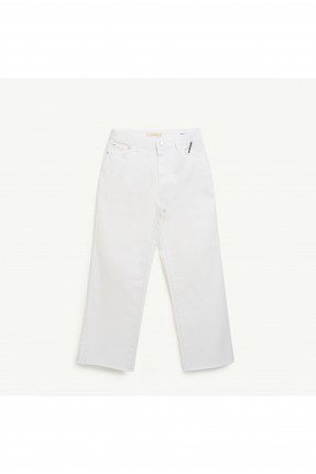 بنطال نسائي جينز وجيب - ابيض