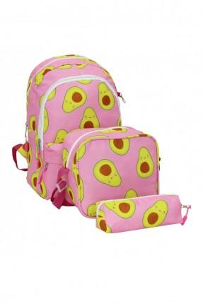حقيبة ظهر اطفال بناتي مدرسية 3 قطع - زهري