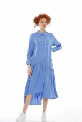 فستان سبور بازرار غير متوازي الطول - ازرق