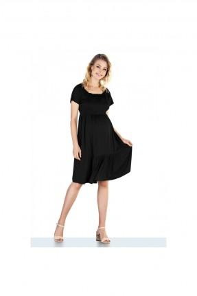 فستان حمل بياقة u - اسود