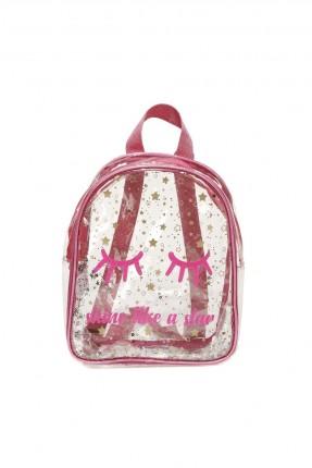 حقيبة ظهر اطفال بناتي بنمط شفاف