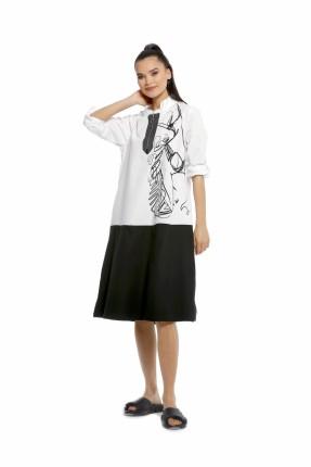 فستان سبور بلونين مع طبعة