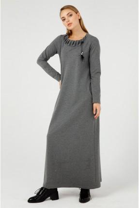 فستان طويل مزين بربطة على الياقة - رمادي