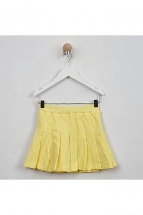 تنورة اطفال بناتي بطيات - اصفر