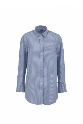 قميص نسائي كم طويل مقلم