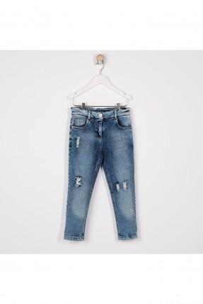 بنطال جينز اطفال بناتي مزين بتفاصيل