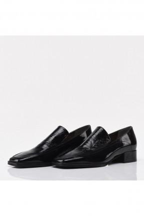 حذاء نسائي جلد بكعب - اسود