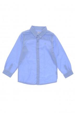 قميص اطفال ولادي بازرار على الياقة - ازرق