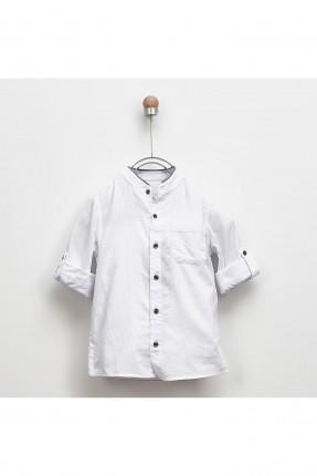 قميص اطفال ولادي بجيب على الصدر - ابيض