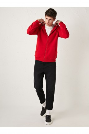 سويت شيرت رياضة رجالي بسحاب - احمر