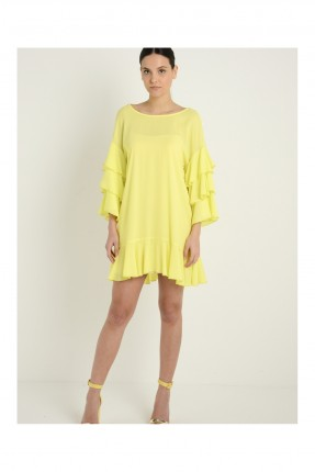 فستان قصير بنمط كشكش - اصفر
