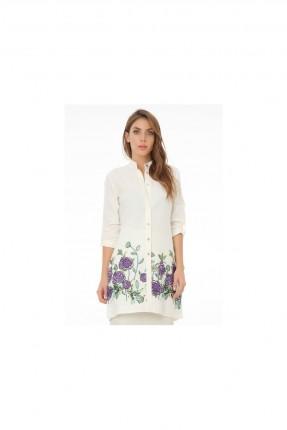 قميص نسائي مزين بنمط مطرز بالزهور
