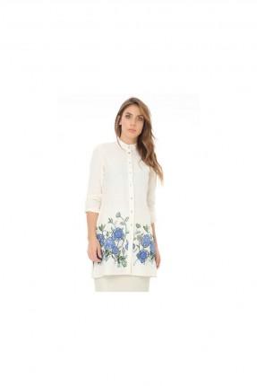 قميص نسائي مزين بنمط زهور