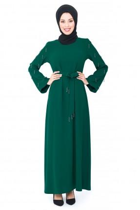 فستان رسمي بتفاصيل خرز - اخضر