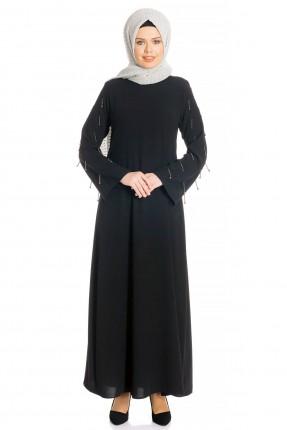 فستان رسمي مزين بتفاصيل على الاكمام - اسود