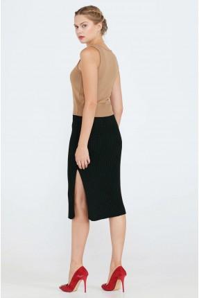 تنورة قصيرة بشق جانبي - اسود