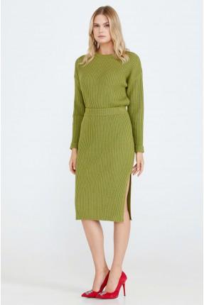 تنورة طويلة تريكو بشق جانبي - اخضر