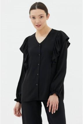 قميص نسائي باكتاف مكشكشة - اسود