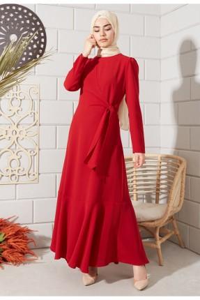 فستان نسائي بحزام - احمر