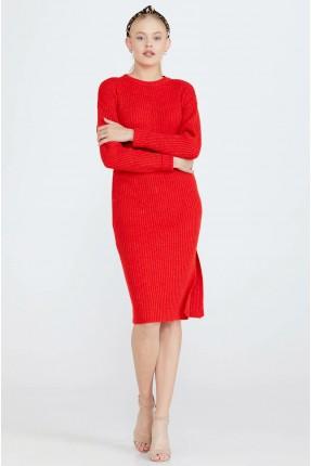 تنورة قصيرة تريكو سادة - احمر