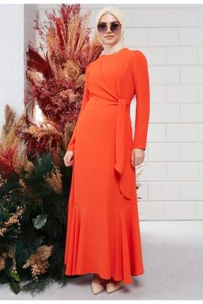 فستان نسائي سادة اللون بحزام