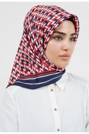 حجاب نسائي بحواف مغايرة اللون - كحلي