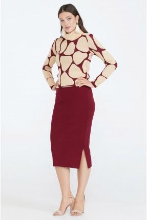 تنورة قصيرة بشق جانبي  - خمري