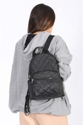 حقيبة ظهر نسائية بحبكة تطريز - اسود