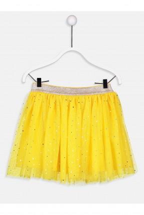 تنورة اطفال بناتي تول مزينة ببرق - اصفر