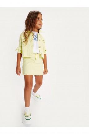 تنورة اطفال بناتي جينز بخصر مطاطي - اصفر