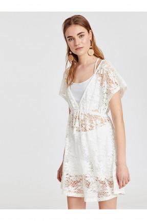 فستان شاطئ دانتيل - ابيض