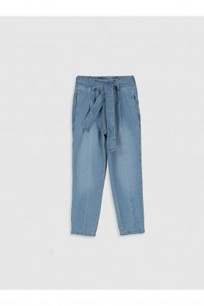 بنطال جينز اطفال بناتي بحزام ربط على الخصر