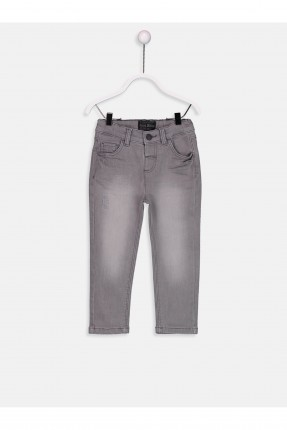 بنطال بيبي ولادي جينز بجيب - رمادي