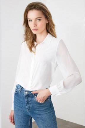 قميص نسائي ساتان - ابيض