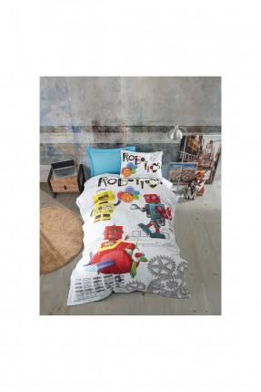 طقم غطاء سرير اطفال ولادي مزين برسمة