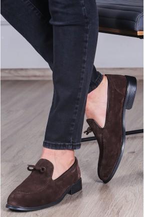 حذاء رجالي شامواه مزين بفيونكة - بني
